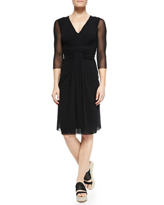 3/4-Sleeve Dress with Draped Waist