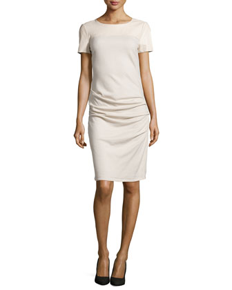 Short-Sleeve Ruched Sheath Dress W/Leather