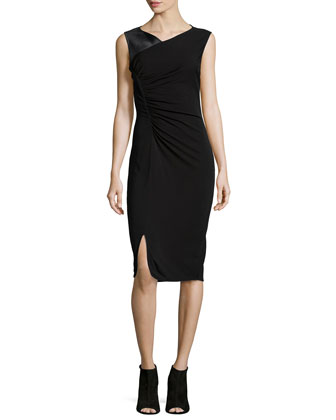 Ruched Asymmetric Knit Dress