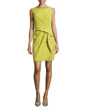 Sleeveless Front-Drape Dress, Apple Green