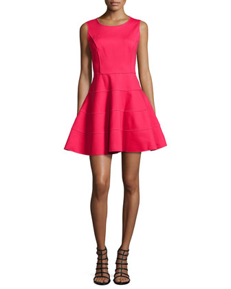 Sleeveless Ponte Fit-and-Flare Dress, Ruby