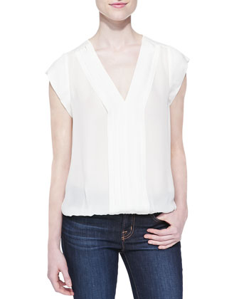 Marcher V-Neck Top with Pleated Front, White