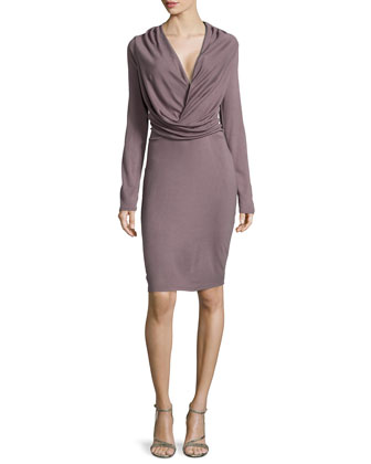 Long-Sleeve V-Neck Draped Dress, Sparrow