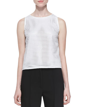 Perforated Leather Tank Top