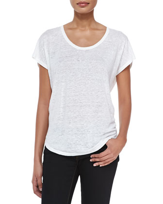 Maddie Scoop-Neck Short-Sleeve Top, Porcelain
