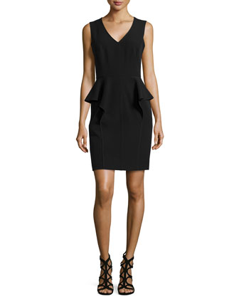 V-Neck Peplum Cocktail Dress, Black