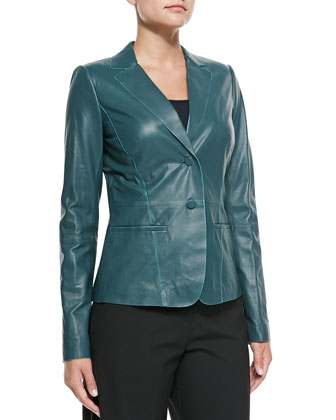 Lambskin Leather Two-Button Jacket