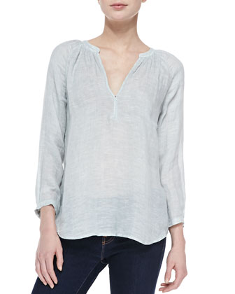 Indarra Linen Bishop-Sleeve Blouse