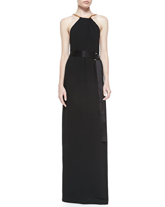 Sleeveless Gown W/ Multi Needle Belt