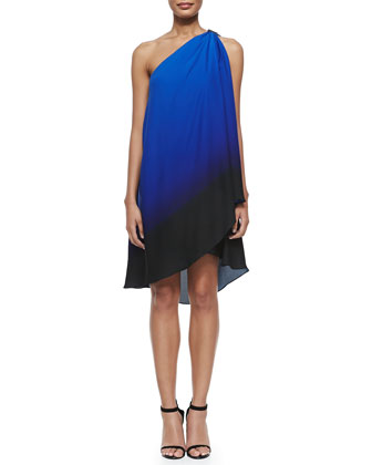 One-Shoulder Asymmetric Ombre Dress