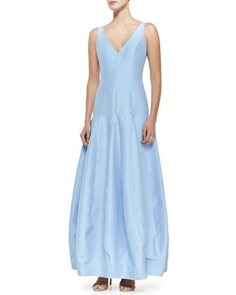 Sleeveless V-Neck Tulip Gown