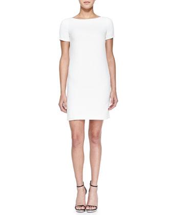 Short-Sleeve Croc-Print-Back Dress