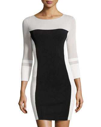 Colorblock Body-Conscious Sweater Dress