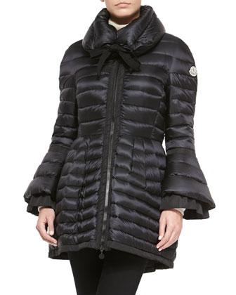 Couperin Flare-Skirt Ruffle-Cuff Coat