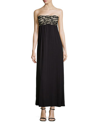 Strapless Lace-Top Maxi Dress