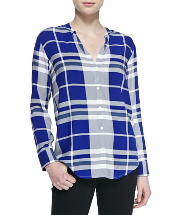 Dane Split V-Neck Plaid Top