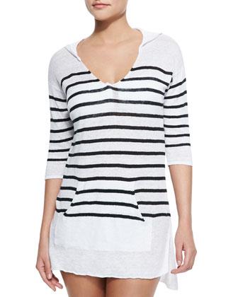 Sundowner Striped Linen Hooded Coverup