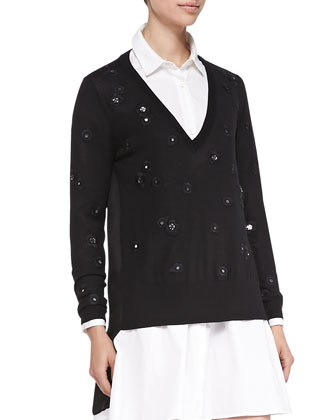 V-Neck Pullover W/ Embellished Flowers & Bias-Seam Cotton Shirtdress