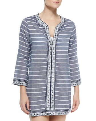 Samali Striped Tunic W/ Embroidered Trim