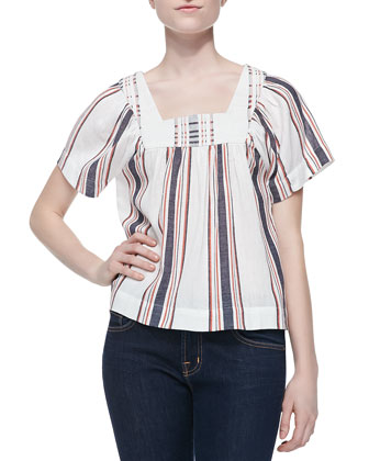 Eiley Striped Voile Peasant Top