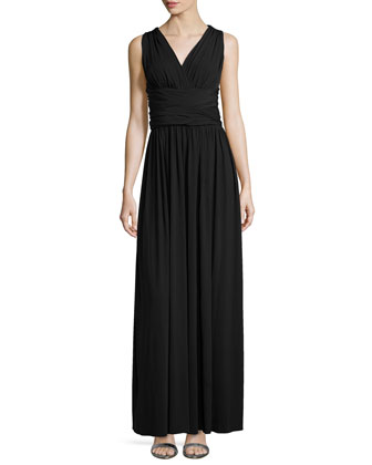 Cross-Back Jersey Gown, Black