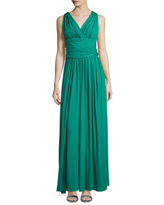 Cross-Back Jersey Gown, Emerald