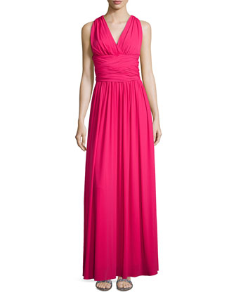Cross-Back Jersey Gown, Berry