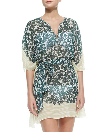 Issy Colorblock Vine-Print Caftan Coverup