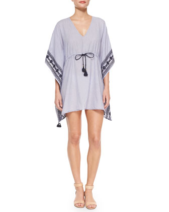 Mira Embroidered-Trim Drawstring Coverup