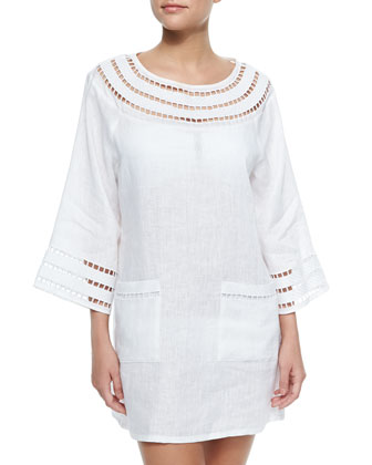 Solamir Cutout-Trim Linen Dress