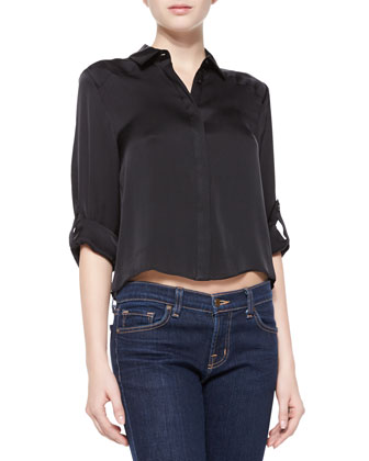 Sharon Cropped Button-Down Blouse