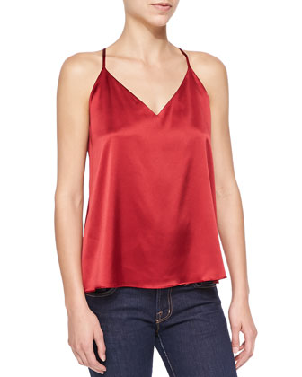 Double-Strap Satin Flowy Top