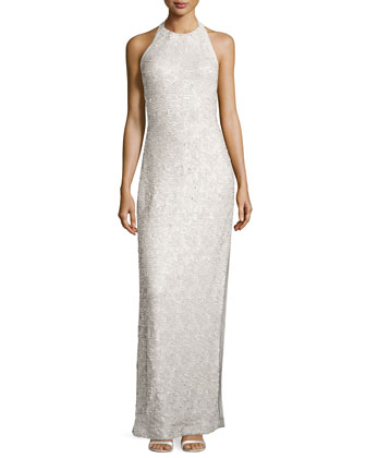 Sequined Halter Jersey Gown, Champagne