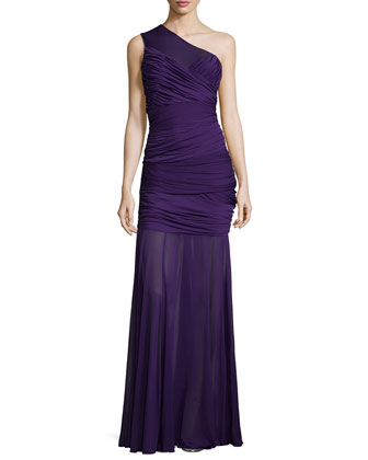 One-Shoulder Ruched Gown, Purple