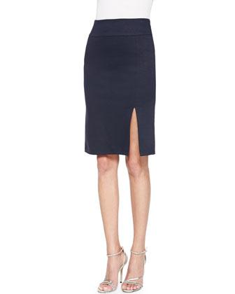 Front-Slit Ponte Pencil Skirt