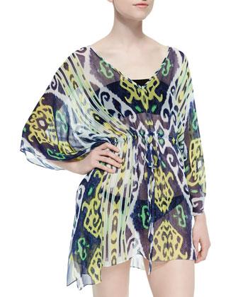 Ikat-Print Drawstring Silk Coverup