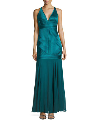Sleeveless V-Neck Dropped Skirt Gown, Mallard