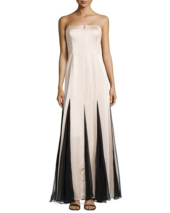 Strapless Sheer-Inset Gown, Champange/Black