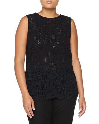 Guipure Lace Sleeveless Top, Black