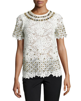 Short-Sleeve Lace Embellished Top, Eggshell