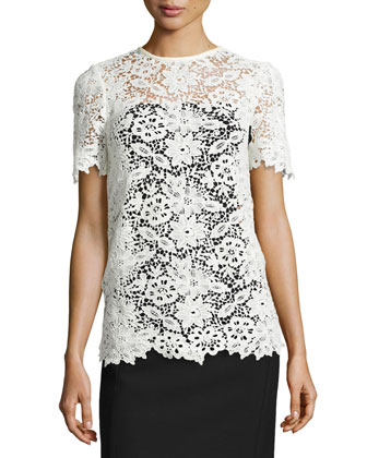 Guipure Lace Short-Sleeve Top, Eggshell