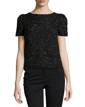 Beaded Short-Sleeve Top, Black