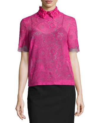 Guipure Lace Blouse W/ Beaded Collar