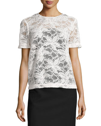 Short-Sleeve Lace Blouse W/ Embellished Neck