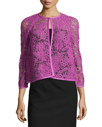 Guipure Lace Short Jacket W/ Leather Trim