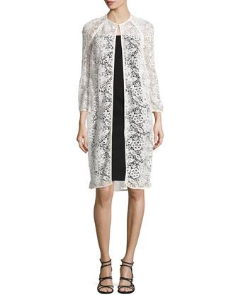 Guipure Lace Long Jacket W/ Leather Trim