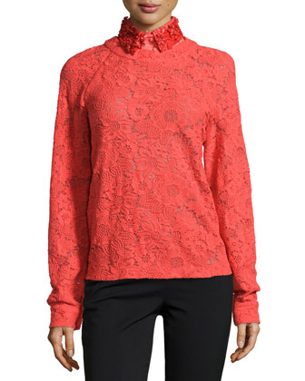 Guipure Lace Long-Sleeve Sweater