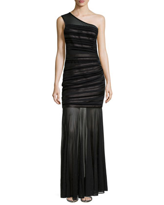 One-Shoulder Velvet Striped Gown