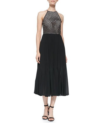 Phoebe Sleeveless Lattice-Bodice Dress