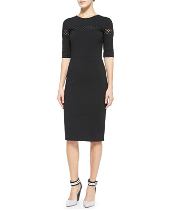 Ruthie Lattic-Panel Sheath Dress